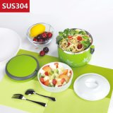 1000ml Stainless Steel 2-Layer Bento Lunch Box with Handle 22145
