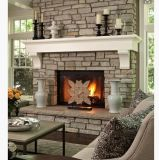 Granite Statue Fireplace Mantels with Electric Fireplace for Indoor