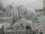 Granite / Marble Stone Animal Carving Elephant Sculptures for Garden Decoration