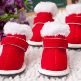 Autumn and Winter Christmas Warm Red Casual Pet Shoes