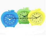 Promotional Creative Lovely Apple Shape Silicone Mini Table Alarm Clocks for Students