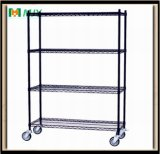 Approved Black Wire Shelving Shelf with Casters