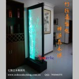 Indoor Waterfall Fountain Glass Water Wall Bamboo Leaves Waterfall Fountain Water Feature