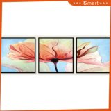 Hot Selling Newest 3 Panels Large Pink Flower Print Painting