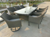 Patio Furniture Rattan Dining Table with Swivel Chair Set