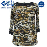 Army-Green in Black Lace Soft Long-Sleeve Loose Fashion Ladies Blouse