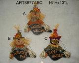 "16""Hx13""L Wood Black Bird Sign Scarecrow-3asst"