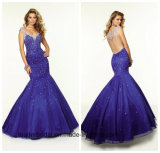 Blue Rinestones Prom Party Gowns Backless Beading Evening Dress NF2017