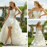 Strapless Lace Appliques Hilow A-Line Bridal Wedding Dress H13431