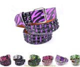 Fashion Zebra Printed Lady Belt with Pyramid Studs