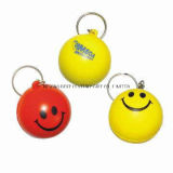 PU Smiley Stress Ball Keychains Promotional Gift