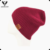 Women's Warm Knitted Acrylic Winter Cap with Leather Label