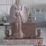 Imperial Red Granite Angel Headstone / Monuments with Vases