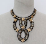 Women Fashion Costume Jewelry Square Crystal Chunky Collar Necklace (JE0153)