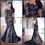Black Prom Dress 3/4 Lace Sleeves Formal Gown Mother Evening Dress B218