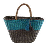 Colorful Straw Tote Bag with Tassels