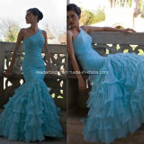 One Shoulder Blue Chiffon Tiered Prom Ladies Gowns Evening Dresses Y2024