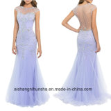 Women Beading Tulle Sheath Evening Party Prom Dress