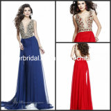 Plunging V-Neck Beaded Prom Celebrity Gowns Jewelry Party Evening Dresses E13194