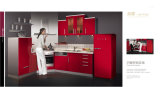 High Glossy Island Style Red Lacquer Kitchen Cabinet