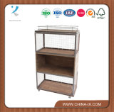 Wheeled Triple Wood and Wire Combination with Wire Rack