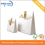 Elegant White Hot Gold Stamping Paper Gift Packing Bag (QY150268)
