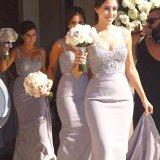 Sheath Prom Party Gowns Chiffon Purple Bridesmaid Dresses Z5085