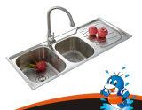 Popular Model Kitchenware Stainless Steel Kitchen Double Bowl Overmount Kitchen Stainless Steel Sink (110462)