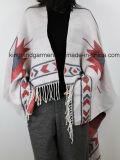 Acrylic Fashion Lady Winter Warm Jacquarded White Fringe Woven Poncho