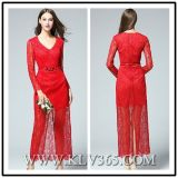 China Wholesale Ladies Women Red Long Lace Evening Dress