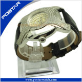 a+ Quality Irregualr-Shaped Stainless Steel Watch Genuine Leather Band Psd-2785