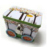 Car Shape Tin Box with Lock for Cookie Packaging
