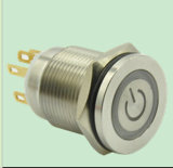 19mm Power Symbol Hyperplane Metal Stainless Steel Push Button Switch