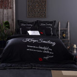 100% Extra-Long Staple Embroidered Cotton Luxury Bedding 4 Piece Duvet Cover Set Sheet Set