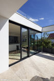 Aluminium Black Frame Sliding Door with Double Tempered Glass (PNOC224SLD)