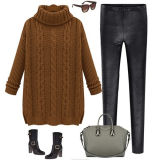 New Style Loose High Neck Pullover Wool Sweater Design for Girl