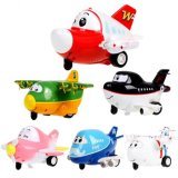 147102-Mini Inertial Traffic Cartoon Model Aircraft Fun Toys for Children Kids with Sound, Light, Eye Blink Function