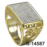 2016 Hotsale 925 Silver Yellow Gold Micro Pave Setting Men′s Ring.