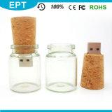 Customized Logo USB Stick Mini Glass Bottle USB Flash Drive (ES056)