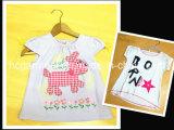 Kids Wear Lovely White Cartoon Cotton Shirt for Girl /Boy