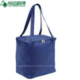 Promotional Reinforced Handles Navy Polyester Insulated Lunch Cooler Bag