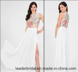 Printing Flora Evening Gowns Beads Side Split Prom Party Dresses Z5021