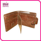 Stylish Brown Billfold Coffee Cowhide Leather Wallet Credit Card Men′s Purse Clutch Billfold