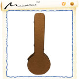 Brown Texture Leather Wood Banjo Case