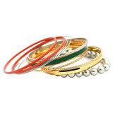 Gray Beads Silver/Gold Plated Red Green Enamel Bangles Bracelet Set