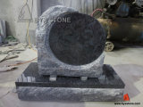 Granite Tombstone with Round Shape Rock Pitched Headstone