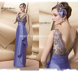 V-Neck Fashion Evening Dress Lace Sheath Mother of Bride Dress Z4008