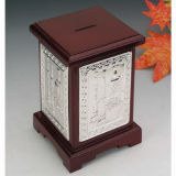 Silver Plated with Wooden Money Box (BW 10161 DOR)