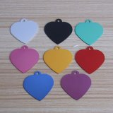 Anodized Colorful Blank Dog Tag Heart Shape Pet ID Tags