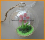 Clear Christmas Glass Ball with Flower Inside